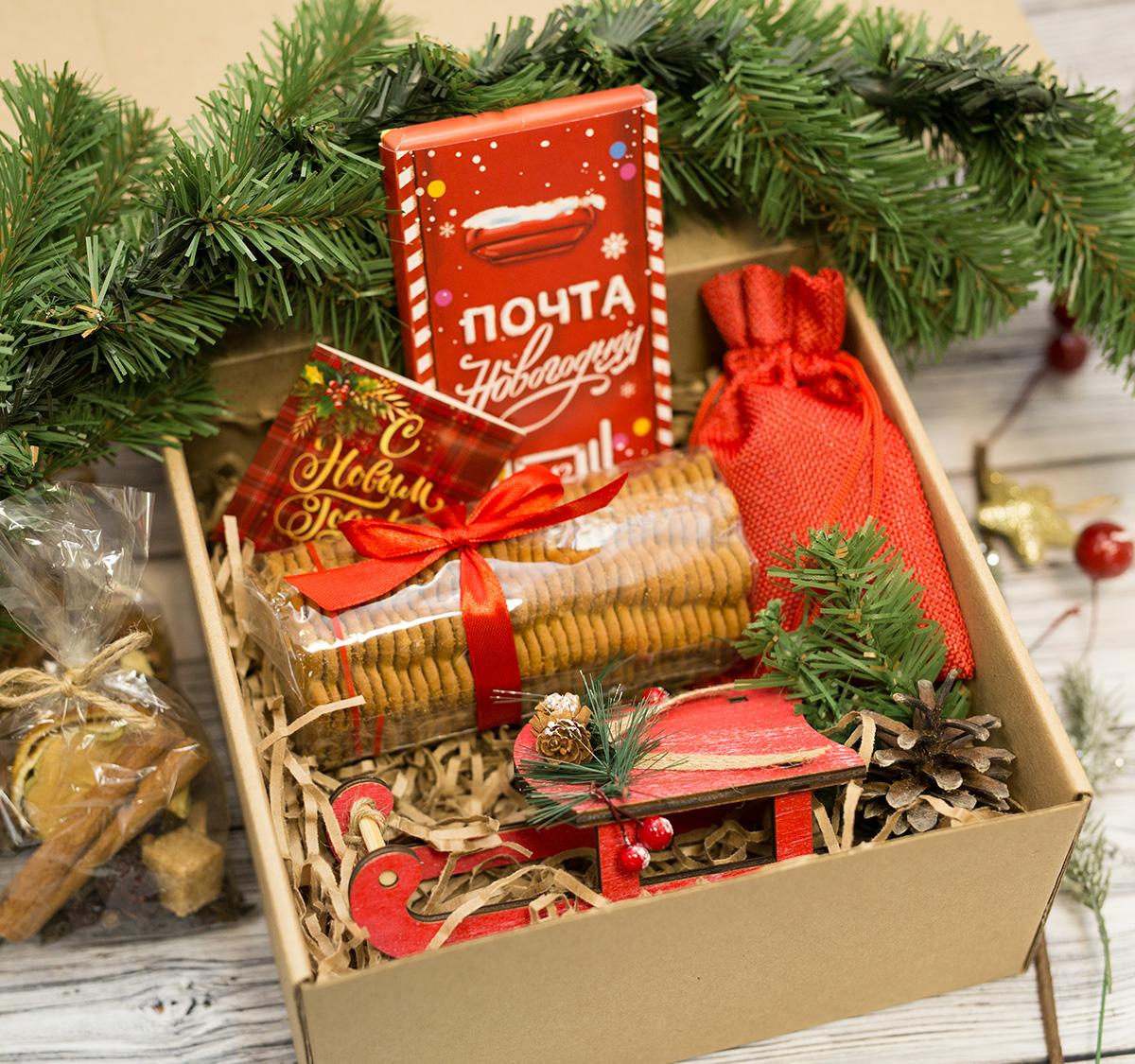 Подарочные бокс Новогодняя почта, санки